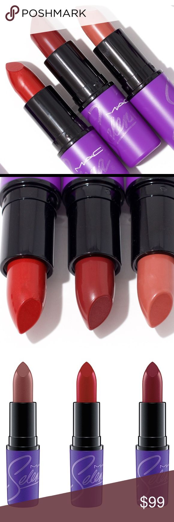 BNIB MAC Selena Lipsticks includes all 3 lipsticks from the MAC selena limited edition collection. sold out on MAC's website. these are purchased directly from MAC and are brand new in box and unopened. NO TRADES. accepting reasonable offers through the offer button MAC Cosmetics Makeup Lipstick