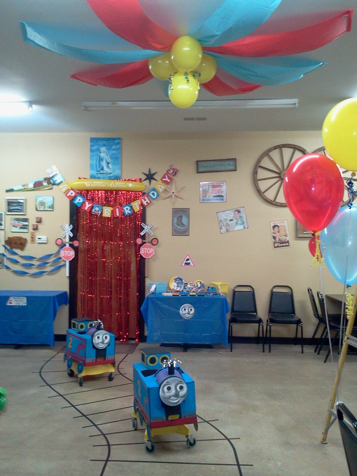 thomas the train two year old twin boys party the trains are made out of boxes and mopbuckets. Black Bedroom Furniture Sets. Home Design Ideas