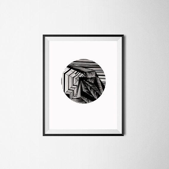 Tirage d'Art moderne / Art abstrait Print / géométrique décoration / Original Art Print / encre dessin / Illustration de stylo / cercle d'Art / dessin de la ligne
