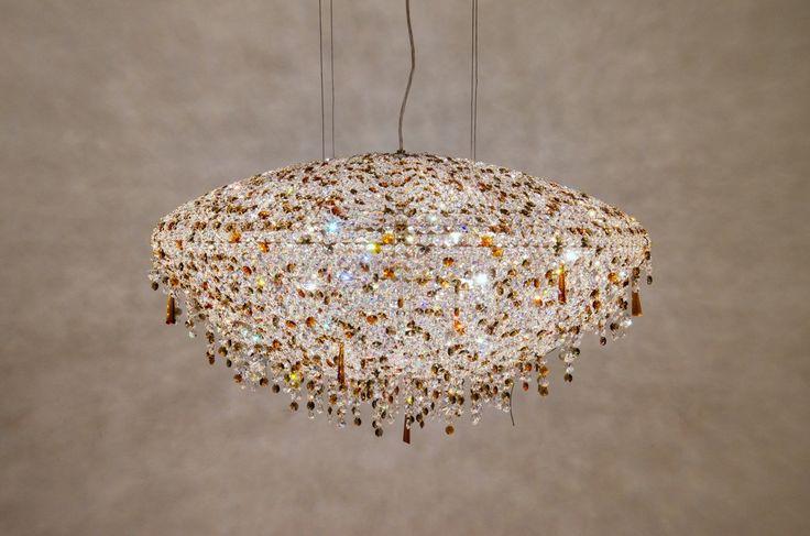 Iceberg+ crystal chandelier with golden structure #Manooi #Chandelier #CrystalChandelier #Design #Lighting #Iceberg