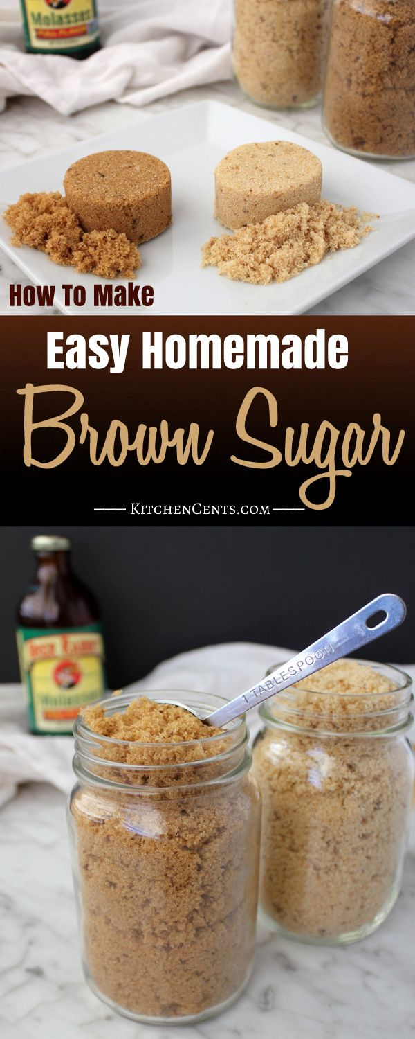 Homemade Brown Sugar | Kitchen Cents Homemade Brown Sugar is easy to make when you find yourself in the middle of a recipe, out of brown sugar, and with no time to waste at the store. It's quick, easy, and only takes two ingredients!