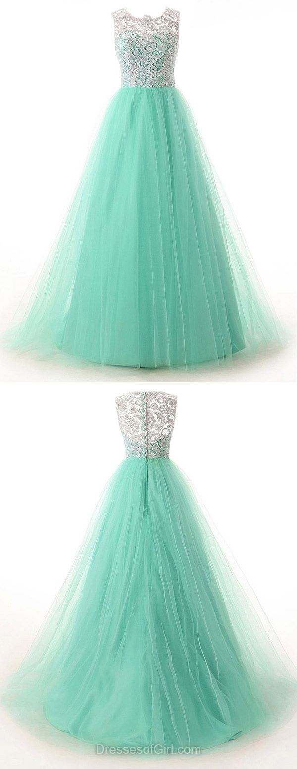 Scoop Neck Sweep Train Green Lace Tulle with Buttons Discount Prom Dresses