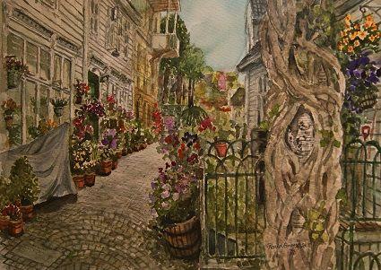 Kunstneren i Bergen: Akvarell fra Krybbesmauet i Bergen