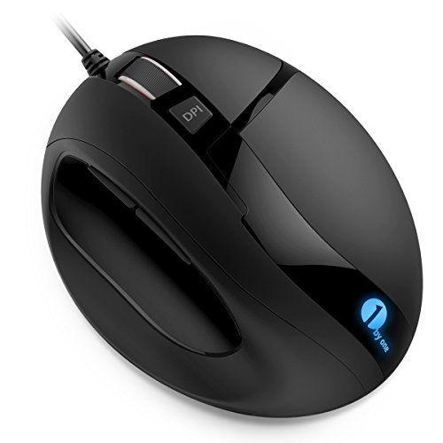 1byone Souris PC Gaming USB Filaire Ergonomique Optique à LED DPI Réglable 6 Boutons Noire