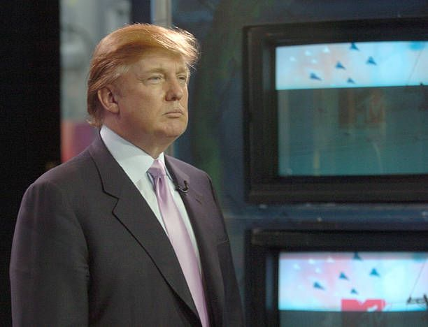 Donald Trump during Donald Trump and Mekhi Phifer Visit MTV's 'TRL' March 17 2004 at MTV Studios Times Square in New York City New York United States