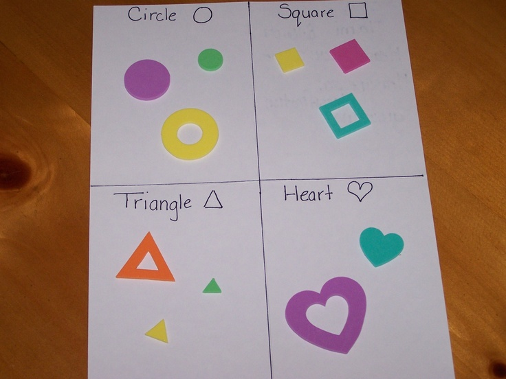 shape sorting with foam stickers - can be used in assessments and in portfolios