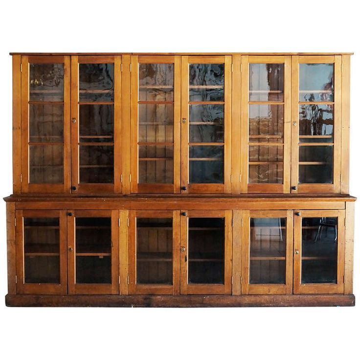 Antique Craftsman Softwood Display Cabinet, circa Late 19th Century
