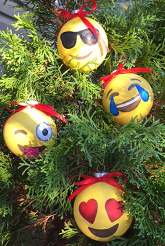 Hand painted emoji ornaments by ClassyGlassyDesigns on Etsy