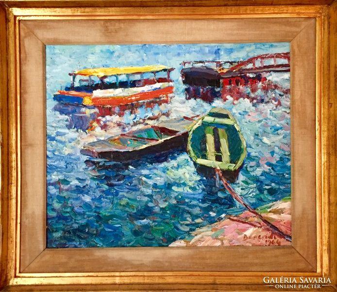 Berendi Ferenc festmény (1964 Csónakok)