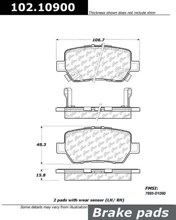 Brand:Centric Part Number:102.10900 Category:Brake Pad  Price : $12.34 2Years Warranty,lowest Prices On Acura Brake pads