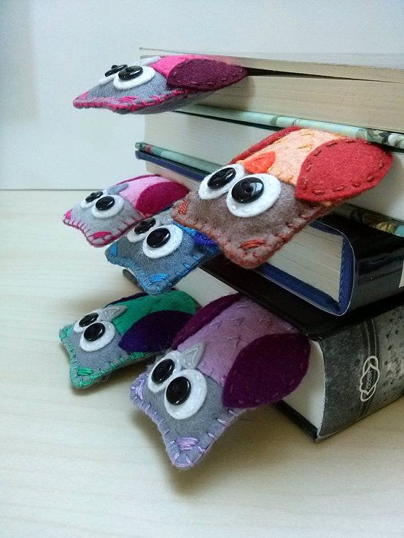 Felt owl bookmark lilac purple owl wool felt by DusiCrafts on Etsy