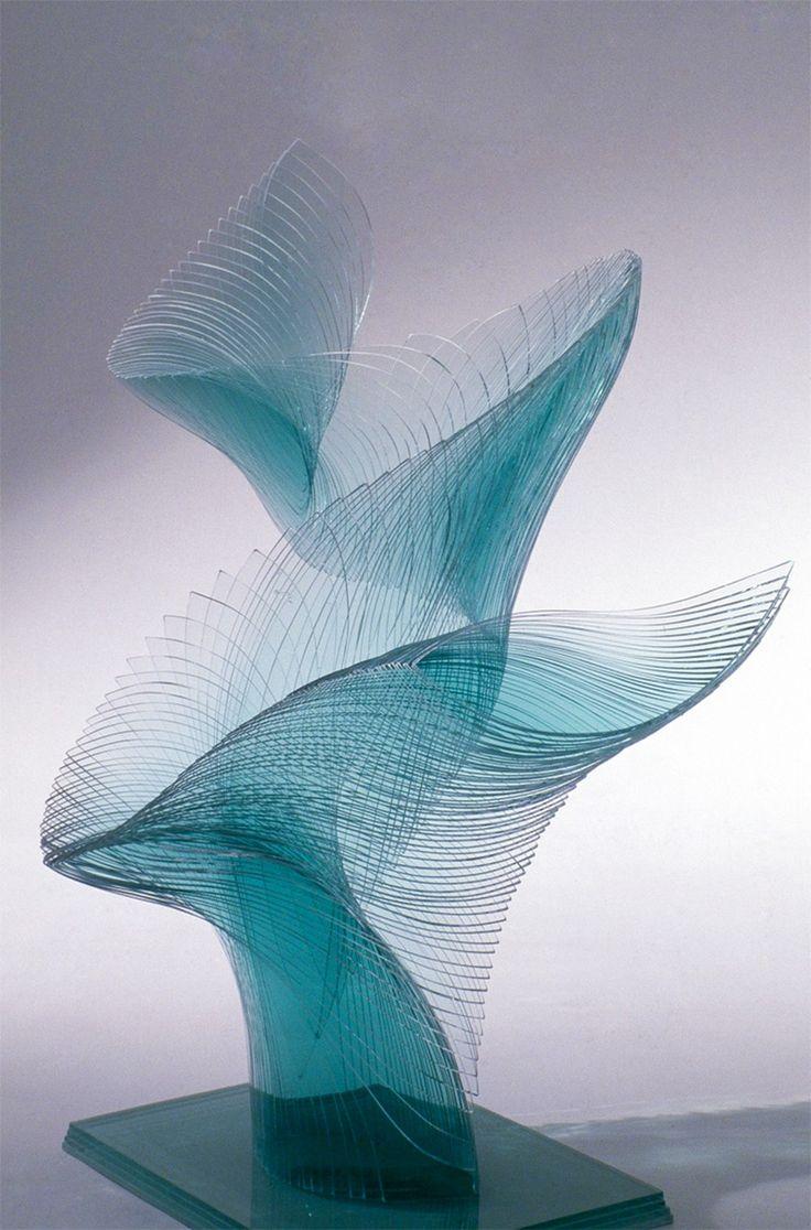 Artist Niyoko Ikuta Uses Layers of Laminated Sheet Glass to Create Spiraling Geometric Sculptures