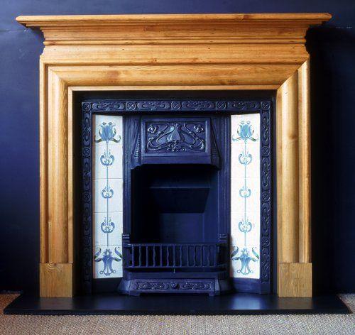 Nouveau  The Art Nouveau surround. Shown with the black finished Art Nouveau cast iron tiled insert (Set of Blue Tulip Tiles). Black slate hearth