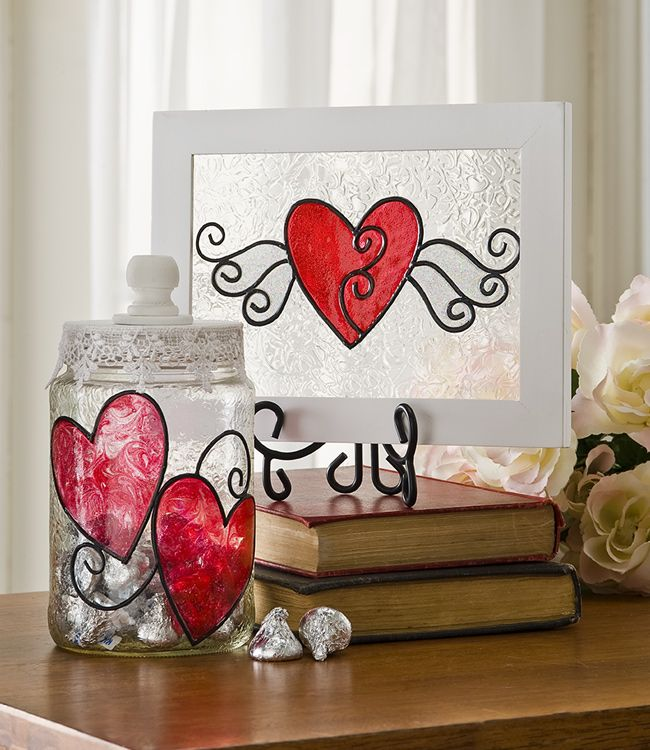 Shimmer Valentine Glass Art created with Gallery