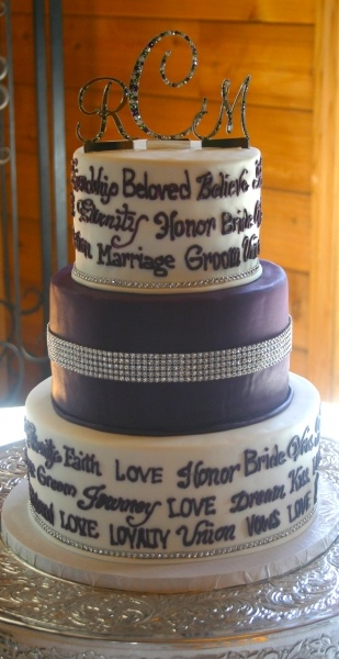 3 tier fondant cake with rhinestone detail, hand piped wedding words and rhinestone cake top: Cupcakes Ideas, Quotes Love, Hands Pipes, Cakes Tops, Rhinestones Details, Words Cakes, Fondant Cakes, Grooms Cakes, Rhinestones Cakes
