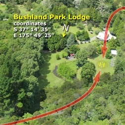 Heli Pad at Bushland Park Lodge & Retreat Whangamata Coromandel