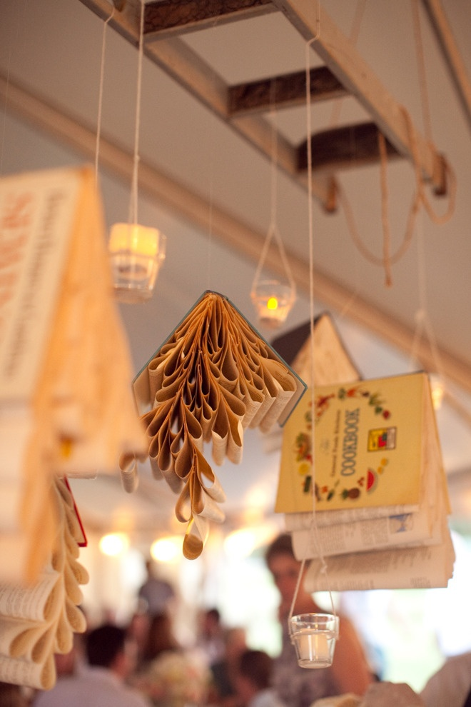 book mobiles hanging from a ladder