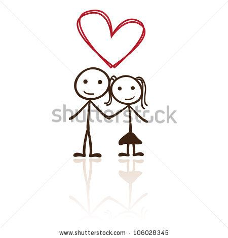 stick figure couple with heart shaped above by cute vector, via Shutterstock