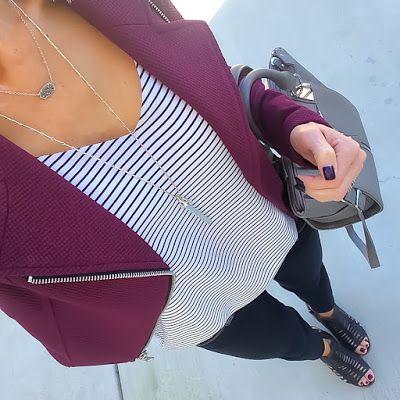Express Burgundy Moto Jacket + striped cami + black skinnies + black caged sandals [Instagram: @ontheDailyX]