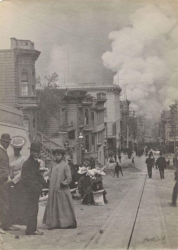 San Francisco Earthquake and Fire, 1906, Jackson Street near Mason Street looking toward the Bay