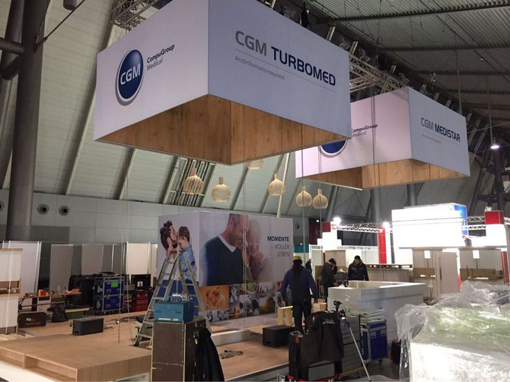 Last Preparations For The Booth Of CompuGroup Medical At Medizin Fair In Stuttgart Germany