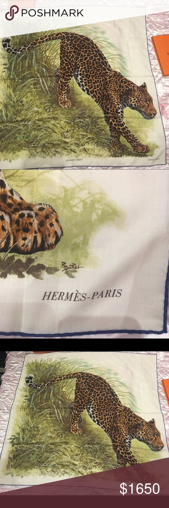 "Hermes Cashmere Shawl Panthera Pardus NIB Ltd. Ed. 💯% authentic! Hermes ""Panthera Pardus"" cashmere and silk shawl! Fabric: 70% cashmere, 30% silk Origin: France Condition: Pristine, never worn Accompanied by: Box, caretag, retail UPC and ribbon, Hermes orange box, and receipt.  Size: 140cm (55"" square) Hermes Accessories Scarves & Wraps"