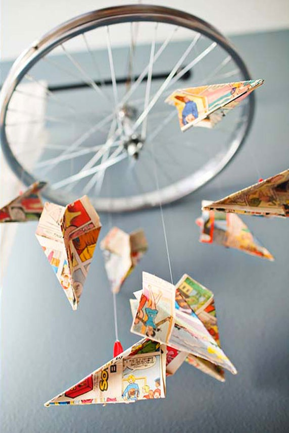 bike wheel and paper airplanes - cool mobile for a boys room!