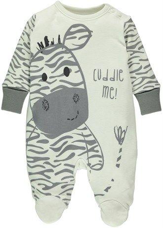 Unisex Zebra Print Sleepsuit (Tiny Baby-18mths)
