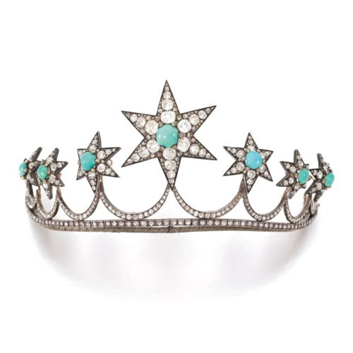 Turquoise and diamond tiara, circa 1870. Composed of seven detachable stars, each set with cabochon turquoise highlighted with rose-, circular-cut and cushion-shaped diamonds, length approximately 210mm, stars detachable