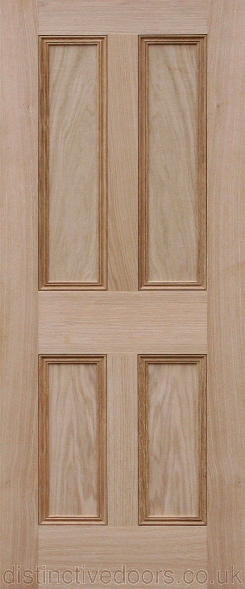Victorian 4 Flat Panel Oak Interior Fire Door