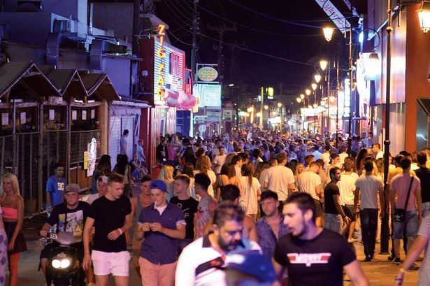British tourists partying in Malia, Crete