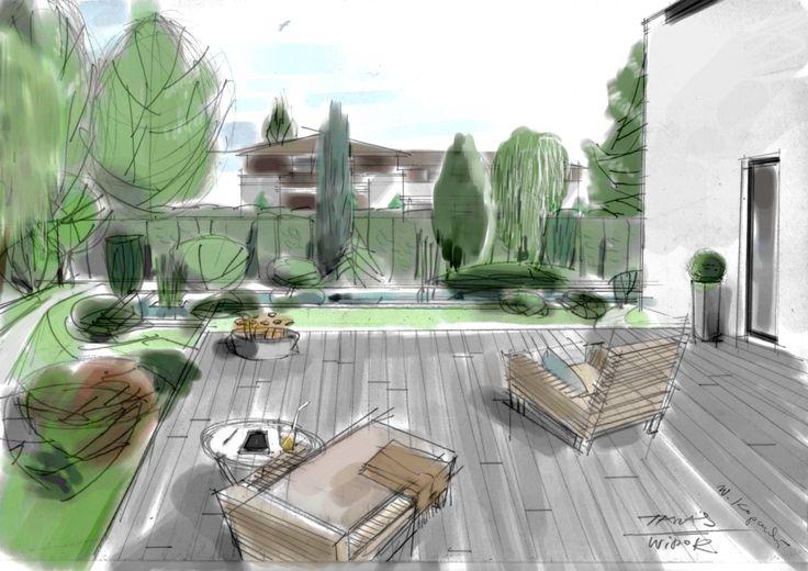 Taras i zbiornik dekoracyjny w ogrodzie