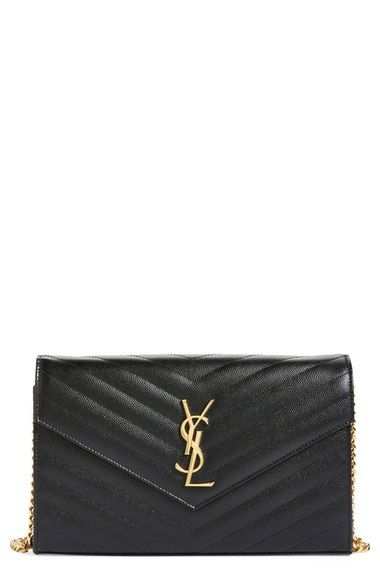 Saint Laurent 'Large Monogram' Quilted Leather Wallet on a Chain available at…