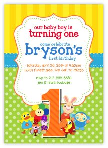 This precious BabyFirst TV Birthday Invitation features your baby's favorite friends, Peek-a-Boo VocabuLarry, Notekins, Tillie, Harry the Bunny and Blossom. My creative design work and high end print press is a winning combination. Attention to detail and superb customer service will ease the stress of planning your baby's first birthday party. Personalized party packs available for all themes at www.acc123.com Click on the link to my one stop party shop now! Invitations as low as $1.15 per…