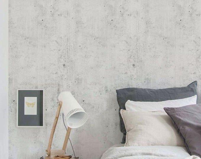 Cement Concrete Peel Stick Fabric Wallpaper Repositionable Etsy Fabric Wallpaper Removable Wallpaper Concrete Light