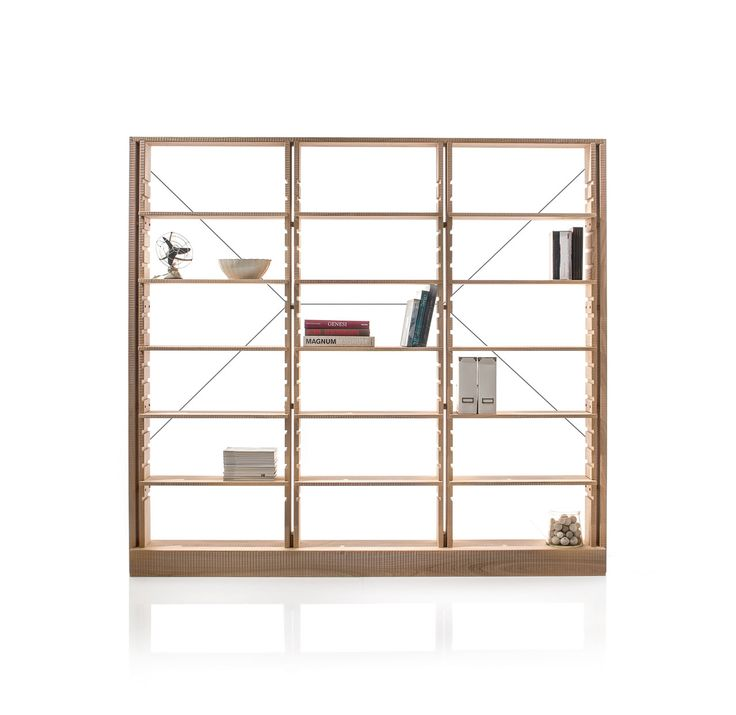 CHIARAVALLE BOOKCASE: Bookcase in three sections with shelves adjustable via grooves on the uprights. Surfaces finished by hand plane. Stay-rods in burnished steel on back side. #Habito #GiuseppeRivadossi #librerie #furniture #Italy