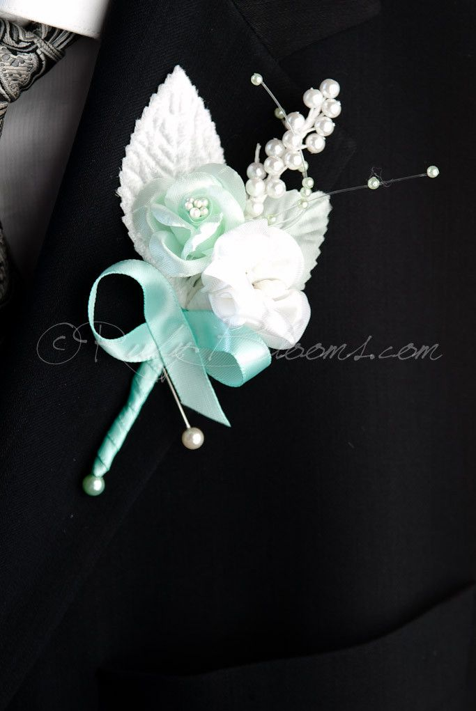 Pearl Mint Flowers Wedding Brooch Boutonniere