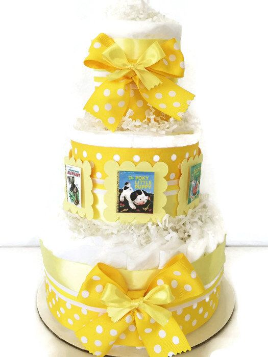 Little Golden Book Diaper Cake in Yellow and White, Neutral Gender Baby Shower Centerpiece by AllDiaperCakes on Etsy https://www.etsy.com/listing/231287702/little-golden-book-diaper-cake-in-yellow