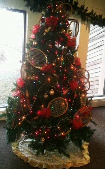 Classic Vintage Tennis Racquet Christmas Tree For The