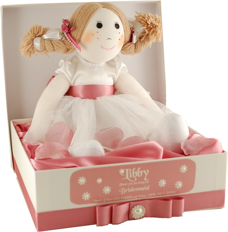 Rag Doll Flowergirl/Bridesmaid gift in personalised keepsake box.  This beautiful rag doll will make an ideal gift for your young wedding attendants.  Box & doll personalised to match your wedding colour theme.  Picture shows our pretty vintage lace and pearl design that co-ordinates with our 'Purlesque' range of wedding stationery and accessories.  For further information please visit www.personal-e-yours.co.uk