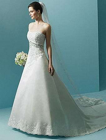 Balletts Bridal - 11865 - Wedding Gown by Alfred Angelo - Alfred Angelo 1708 WG.  Strapless satin gown with band at empire and down back train.