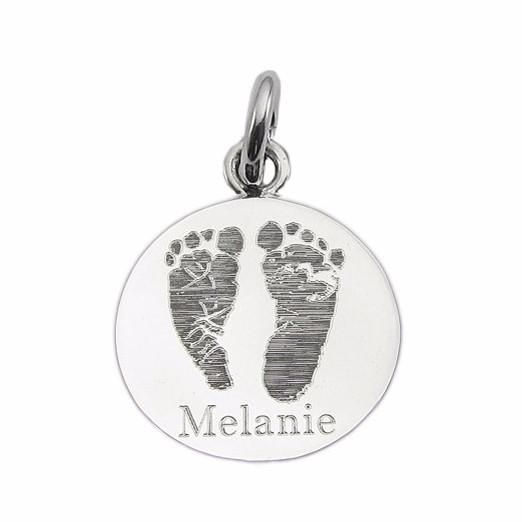 Custom Engraved Actual Handprints and Footprints Jewelry | Large Round Pendant- Sterling Silver {Prints on Both Sides}