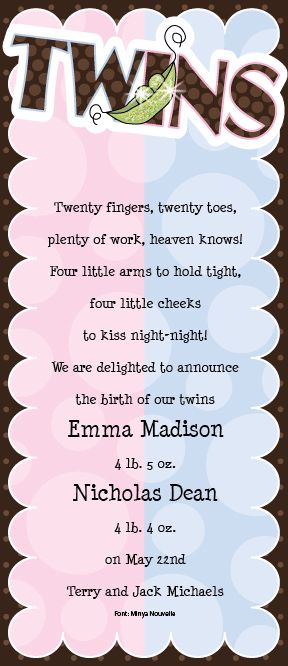 Boy & Girl Twins - Change wording to use for a shower invite.and make it for two boys...Kelli loved this!!!! <3 <3