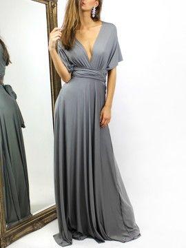 Lousas Gray multi Laço envoltório cintura Maxi Vestido