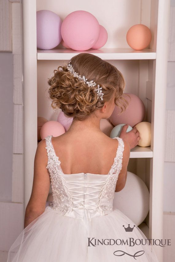 Ivory Lace Flower Girl Dress – Wedding Party Bridesmaid Holiday Birthday Ivory Tulle Lace Flower Girl Dress 14-653