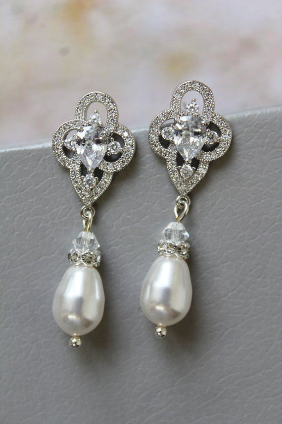 Art Deco Earrings Bridal Earrings Pearl Earrings Silver Wedding