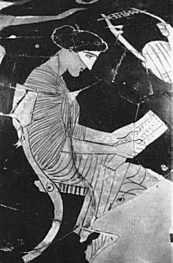 Sappho reading her book (From an Athenian vase 5th c. BC)