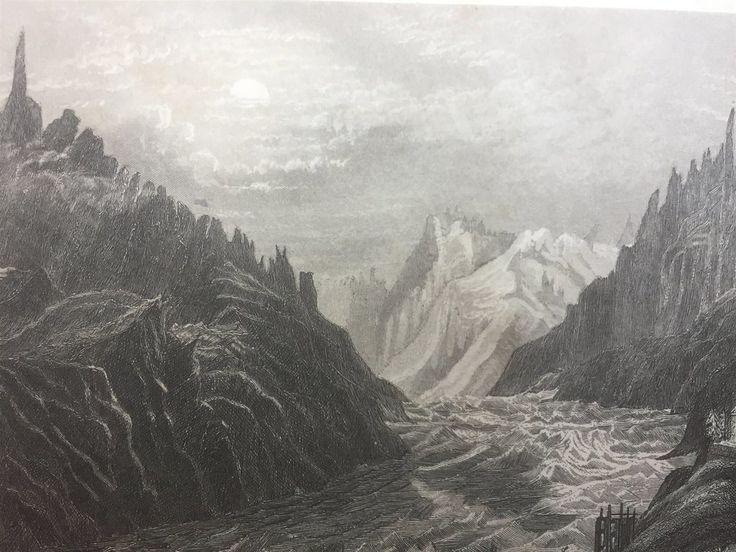 Annons på Tradera: Chamonix Antik Etsning Topografisk Plansch 1840 Das kleine Universum