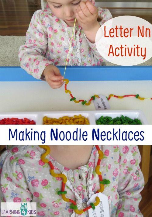 Letter N Activity - Making Noodle Necklaces