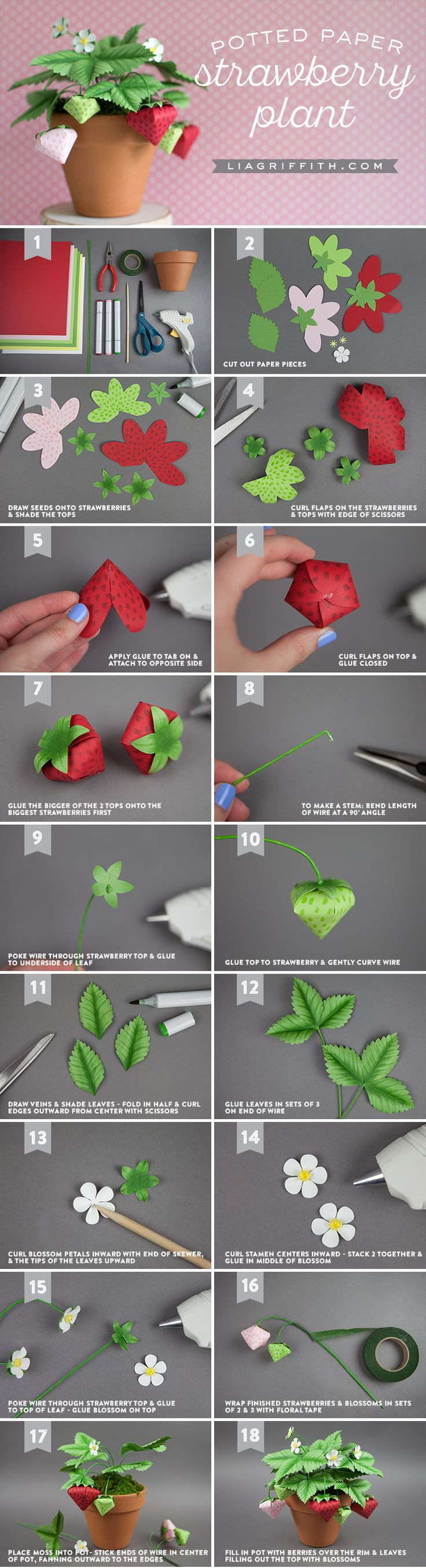 Make a Potted Paper Strawberry Plant – FREE Pattern and Tutorial